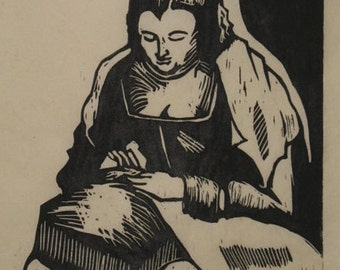 Hand-Pulled Woodcut After Velazquez no. 2
