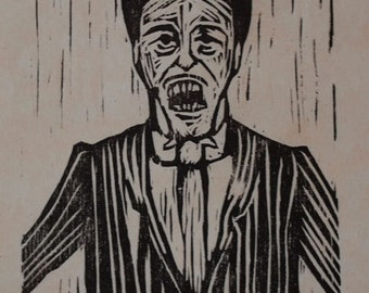 Hand-Pulled Woodcut The Barker