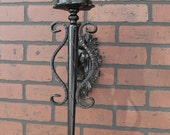 Pair of Iron Wall Sconce Candle Holder,  with Blue Turquoise Stone