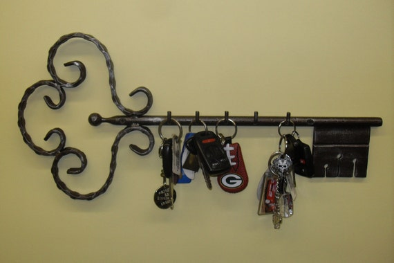 Iron Wall Mounted Key Holder with Bronze Finish and Patina Paint
