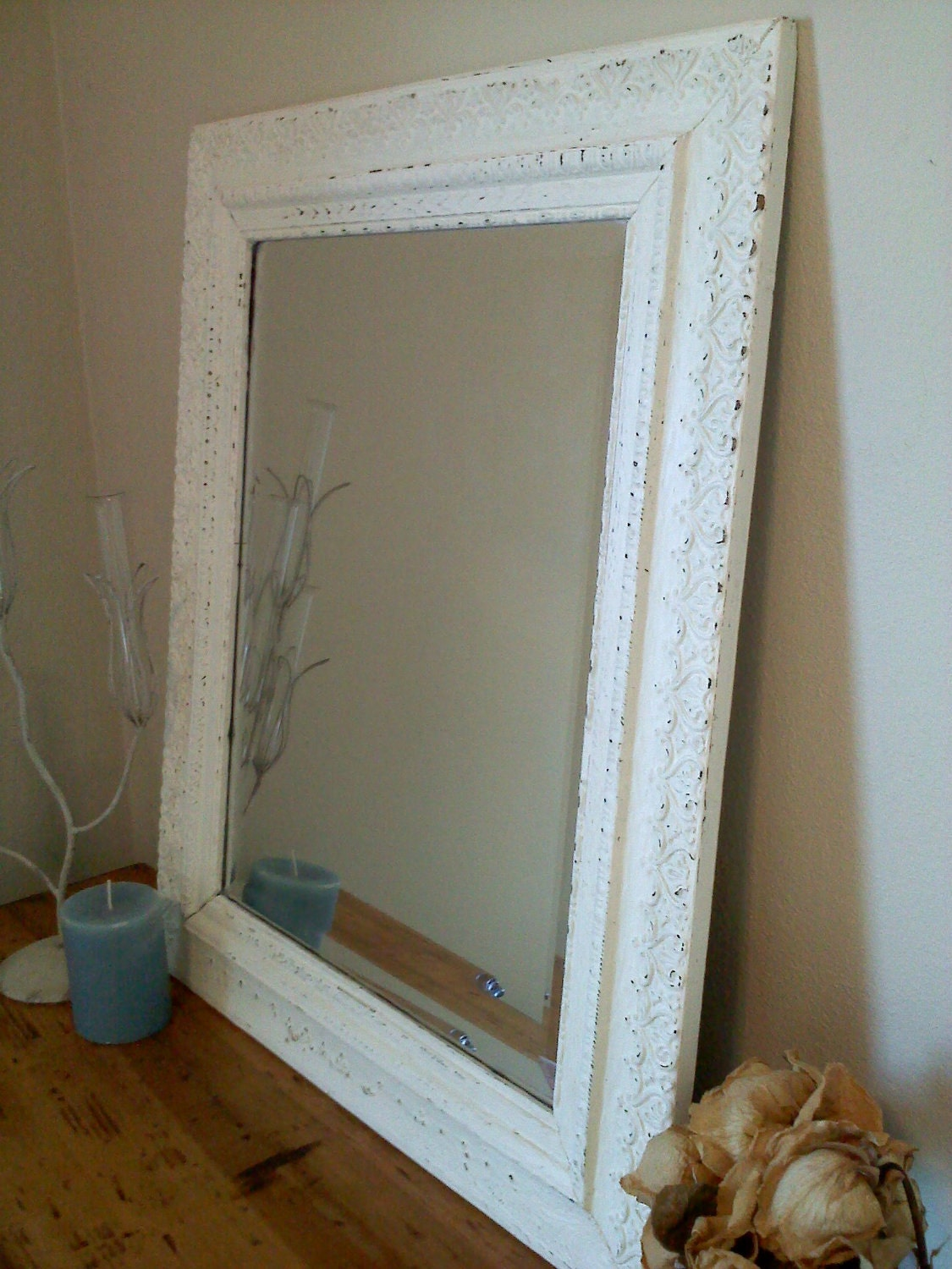 White antique frame made into framed mirror for White framed mirror
