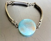 RESERVED : ice blue crackle Agate & vintage watch band