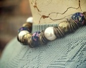 Fabric, Brass and Pearl necklace.