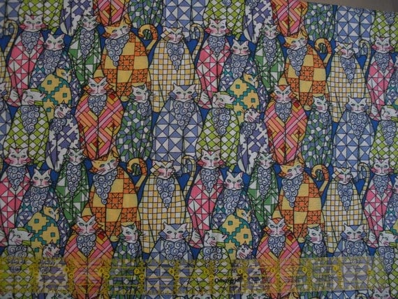 "Destash 085:  Design 12446, ""Country Kitty's"" by Jim Shore for Red Rooster Fabrics, 1 Yard Piece, 2 yards available."