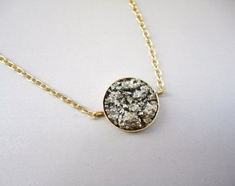 Crushed Pyrite Cluster Necklace.