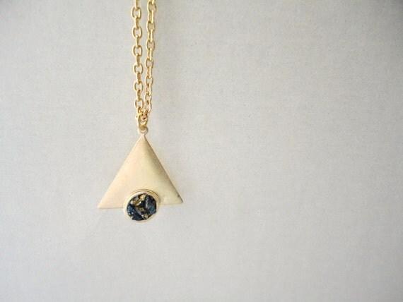 Peacock Ore Triangle Necklace