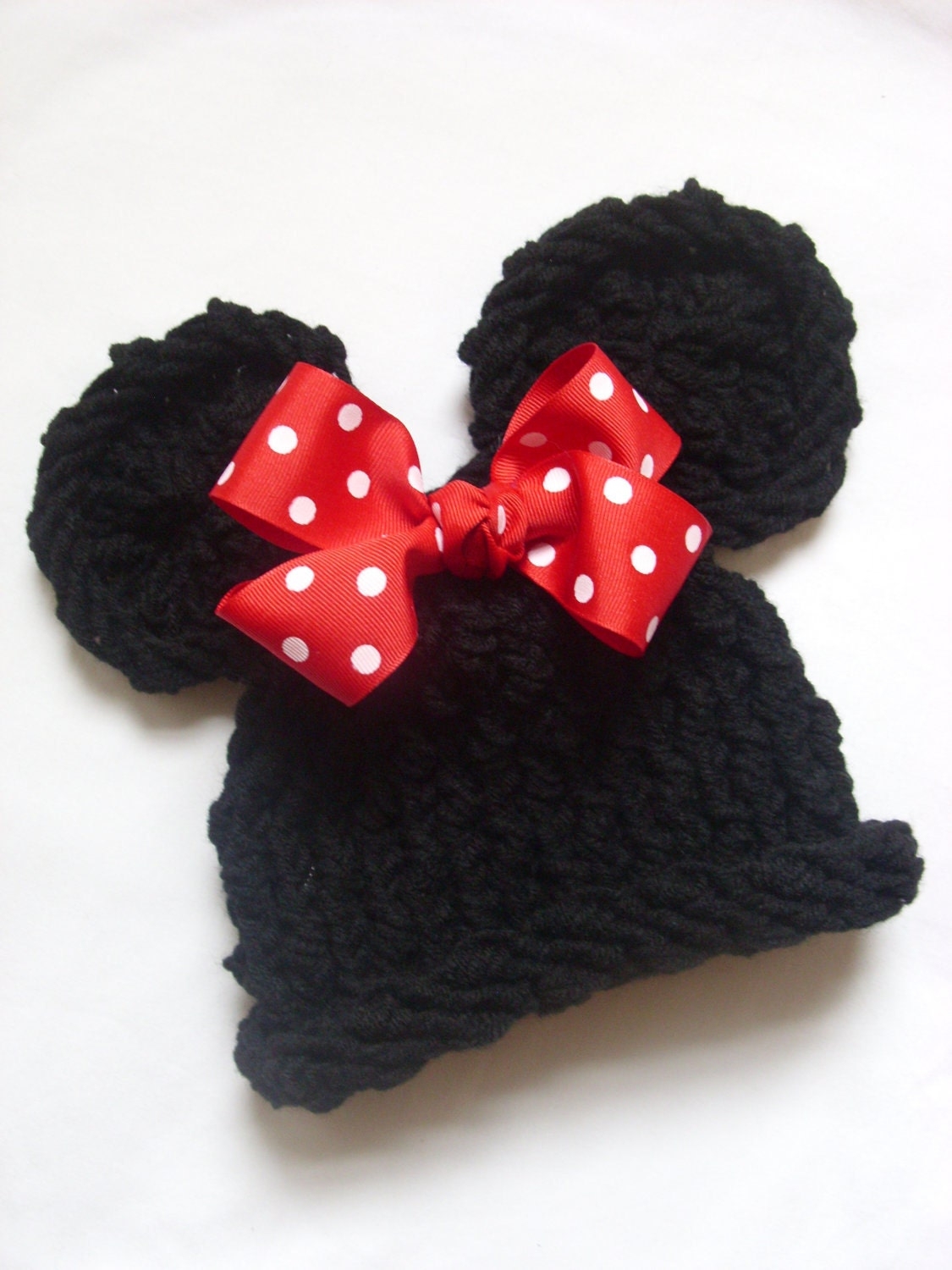 Knitted Minnie Mouse Hat Pattern : Girls/Black Minnie Mouse Knit Hat/Red/White Polka by pinkiebows