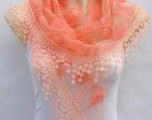 Orange embroidery lace scarf, spring, summer, the lace scarf, triangular scarf, gauze qualitative scarf, shawls, necklace