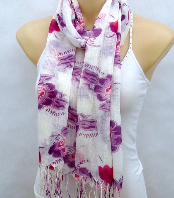 Cotton handpainted flowers scarf thin cotton tassel by xyuezw Cotton Head Scarves Women