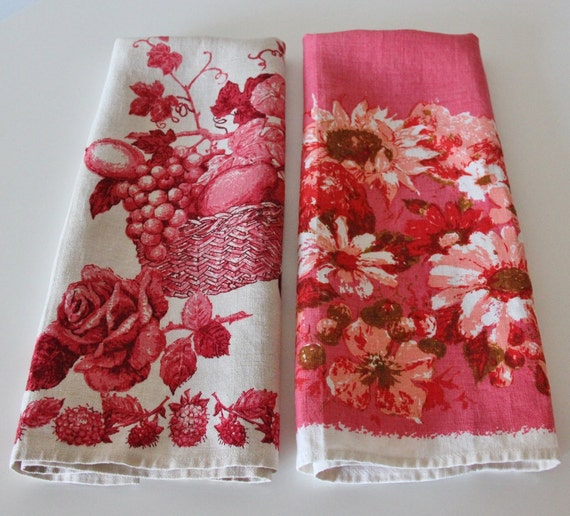 Pair of  Luther Travis Tea / Kitchen Linen Towels  - Pink and Red Perfection