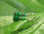 Green Faceted Emerald Fairy Circle Earrings - Swarovski crystal, Green Aventurine, Sterling Silver, Elven, Elf, Forest