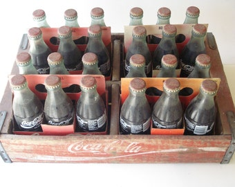 FULL Unopened 24 Coca Cola Glass bottles in 4 six packs and in matching crate