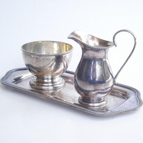 Vintage Silver Cream & Sugar Set with Tray