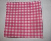 Mens Pocket Square- Pink & White