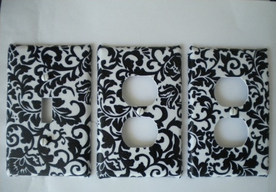 Black & White Floral Damask  Light Switch Plate and 2 Outlet Covers Handmade Set