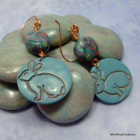 Polymer Clay and Copper Wire Bunny Earrings