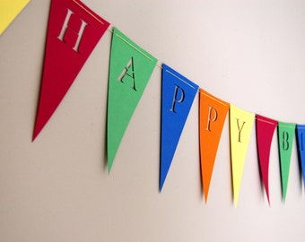 Happy Birthday Banner - Customize - Personalized Bunting (Sign, Flags, Pennants) in solid primary colors. Perfect for Party Decoration