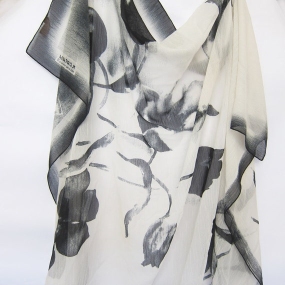 Lovely Ivory Cream and Black   Silk Chiffon Scarf  Vintage 48 x 46 Square