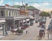 1920s Vintage Postcard: 'Greetings from Jamaica'. King Street, Kingston, Jamaica