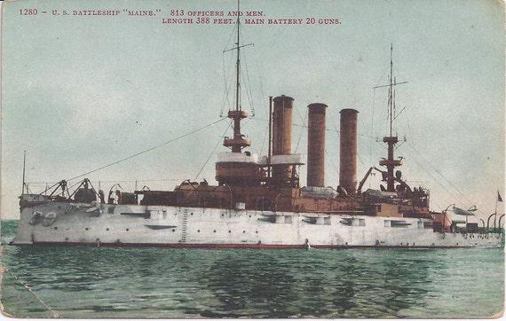 """1900s Vintage Postcard: U. S. Battleship """"Maine."""""""