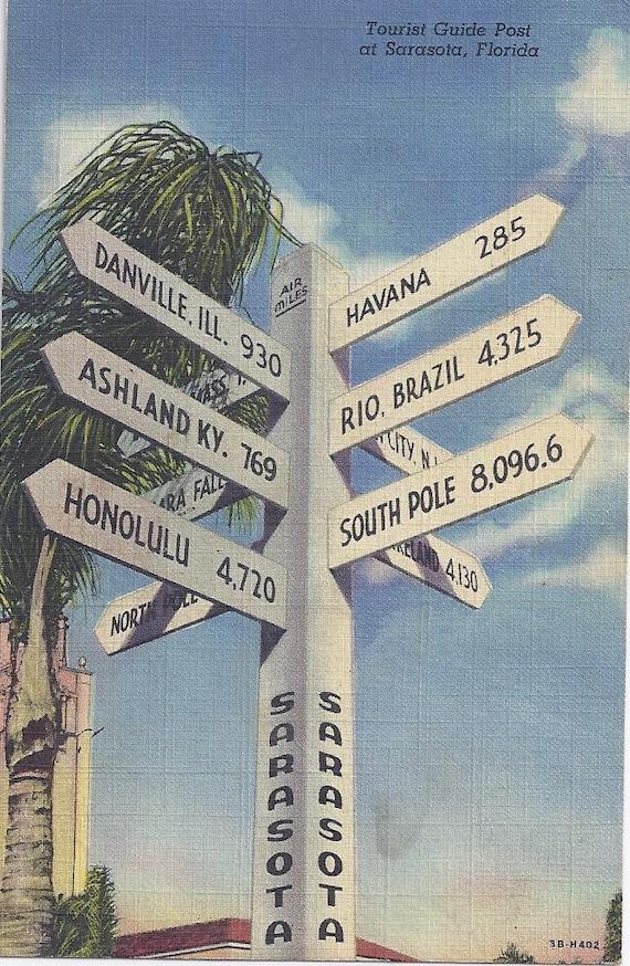 1940s Vintage Postcard: Tourist Guide Post at Sarasota, Florida