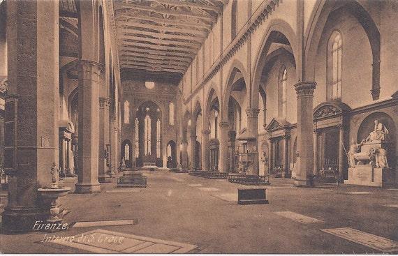 1910s Vintage Postcard: Firenze, Interno di S. Croce (Florence, Interior of Santa Croce) Italy