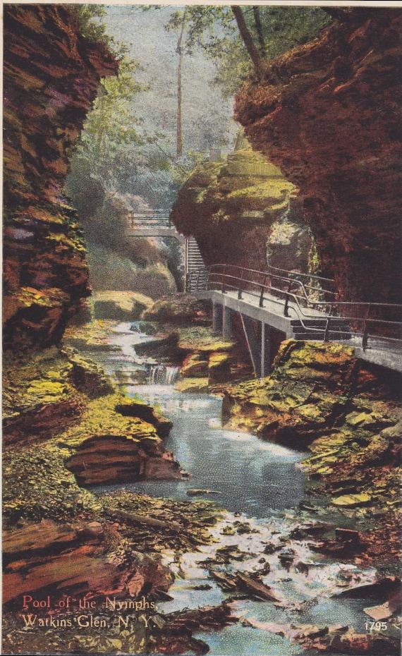 1920s Vintage Postcard: Pool of the Nymphs, Watkins Glen, N. Y.