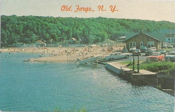 1960s Vintage Postcard: Public Beach, Old Forge, N. Y.