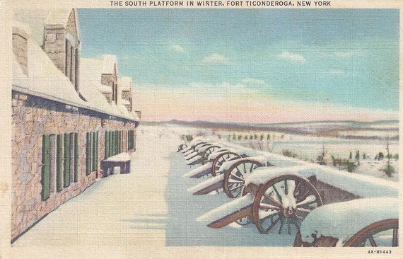 SALE 1930s Vintage Linen Postcard: The South Platform in Winter, Fort Ticonderoga, New York