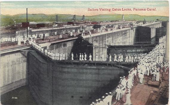SALE 1910s Vintage Postcard: Sailors Visting Gatun Locks, Panama Canal.