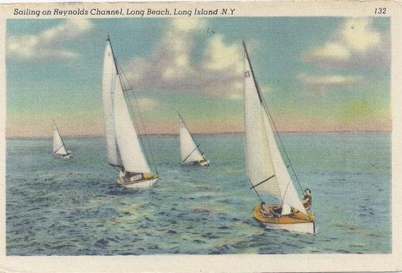1950s Vintage Postcard: Sailing on Reynolds Channel, Long Beach, Long Island N. Y.