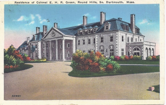 1930s Vintage Postcard: Residence of Colonel E. H. R. Green, Round Hills, So. Dartmouth, Mass.