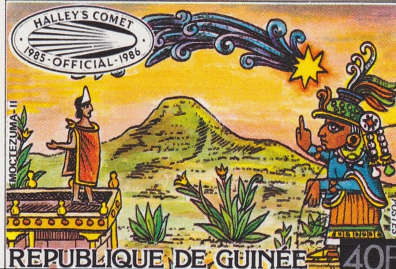 SALE HALLEY'S Comet, MOCTEZUMA Republique De Guinee, Guinea, Official Stamp 1985-1986, Africa