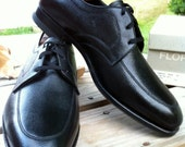 "Florsheim Vintage N.O.S  ""Eton"" Mens Leather Oxford Derby's Black Dress or Casual Shoes 1950'2-60's  USA MADE, US size 10 D"