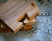 Coasters Natural Wood Grain Puzzle Pieces Set of Four