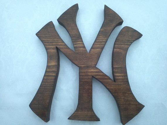 "New York Yankees Wood Logo Wall Art or Key Holder Solid Pine 7 7/8"" x 8 1/2"""