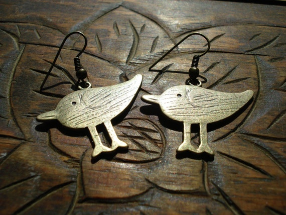 Antiqued gold tone bird earrings