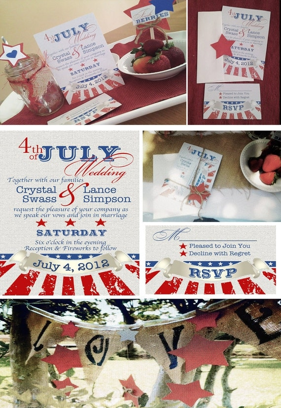 items similar to fourth of july wedding invitations and