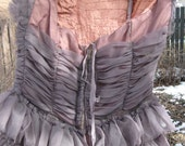 Dolphin Grey 1950's Ruffled Organza Prom Dress
