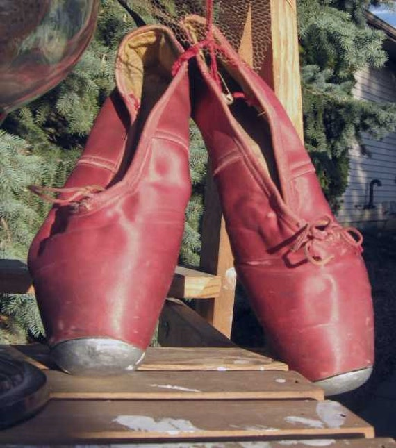 Vintage Rare 1940's Red Ballet Steel Toe Pointe Shoes