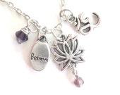 Lotus Flower Necklace Believe Om Yoga Jewelry Zen Namaste Earthy Unique Gift Under 50 Item T5