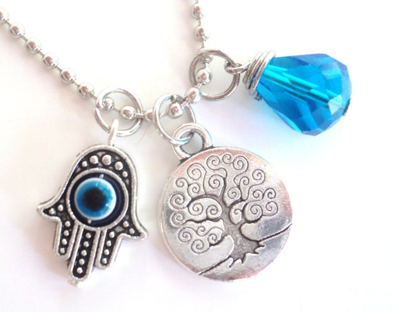 Tree of Life Necklace Hamsa Good Luck Yoga Jewelry Blue Evil Eye Protection Om Zen Namaste Earthy Unique Gift Under 50 Item T12