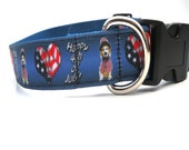 Large Dog Collar - Red- White- Blue 4th of July, Med, Lg