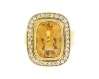 18k DIAMOND & CITRINE RING - Fully Hallmarked Solid Yellow Gold - Natural Gemstones - Art Deco - Fine Estate Jewelry