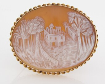 Antique VICTORIAN CASTLE CAMEO Solid 18k Yellow Gold Stunning and Unusual Carved Shell Theme