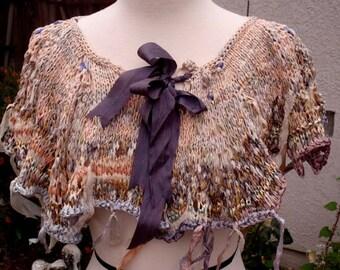 Bohemian Gypsy Hand knitted Silk Ribbon Tulle Caplet Overskirt