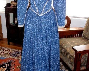 Historic Reproduction Late 1840s Romantic Victorian Cotton Day Dress Jane Eyre Civil War Pioneer Costume Theatre