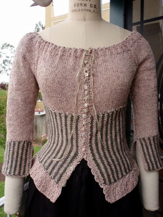 Vintage Style French Rococo Corset Waist Hand Knit Spring Cardigan Sweater Steampunk Bohemian