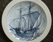 Traditional Blue Ceramics Plate picturing a Dutch Galleon sailing in open seas