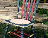 """HANDPAINTED CHAIR.  """"Hero Series - Courage"""".  Honoring the HERO in your life.  Vintage.  Distressed...but sturdy and strong."""